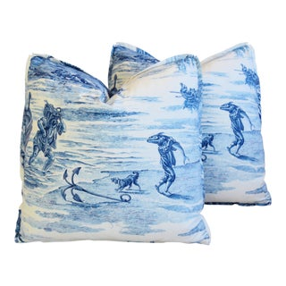 "Schumacher Blue & White Nautical Roman Toile Feather/Down Pillows 21"" Square - Pair For Sale"