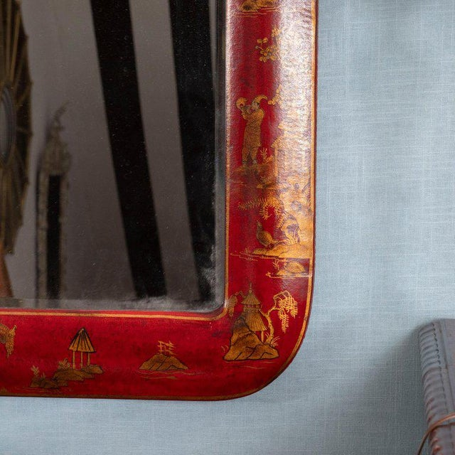 Chinoiserie Red Lacquered Mirrors - a Pair For Sale - Image 9 of 11