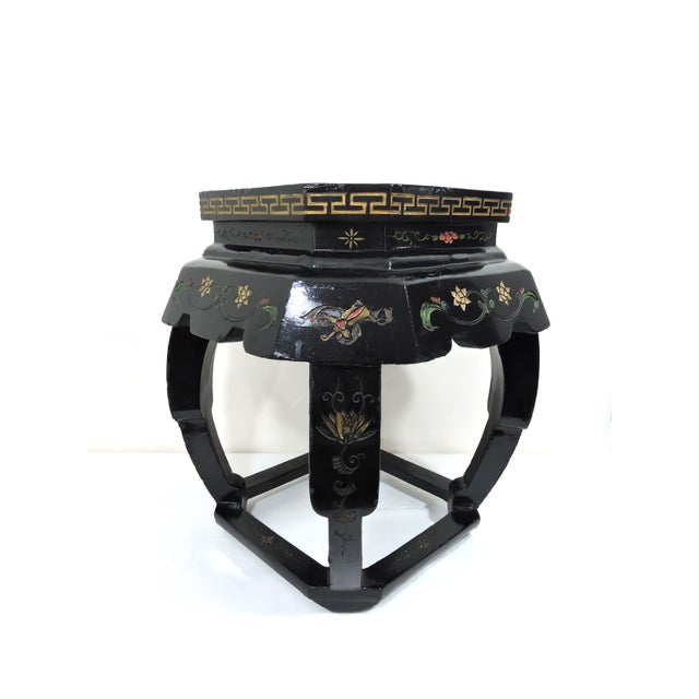 """Attractive black lacquer Oriental stool, side table, pedestal or seat. Four legs support a 12"""" square top that depicts a..."""