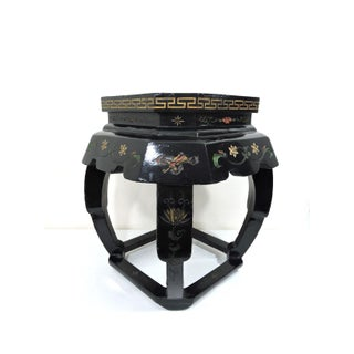 Vintage Chinese Black Lacquer 'Lotus Lake' Floral Stool / Side Table Preview