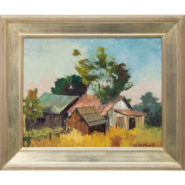 "Original ""Old Barns, Southern California"" Oil Painting by Jon Blanchette For Sale"