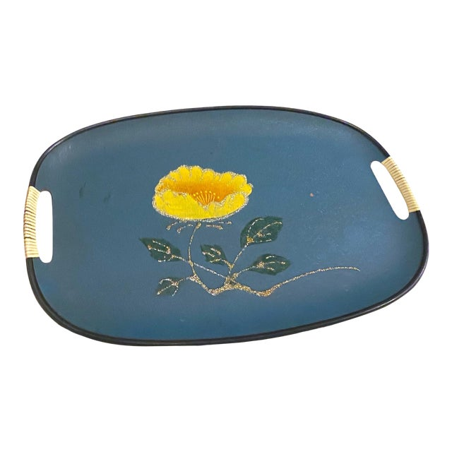 Vintage Mid-Century Turquoise Fiberboard Large Oval Serving Tray For Sale