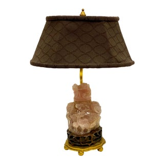 Asian Pink Rose Quartz Table Lamp For Sale