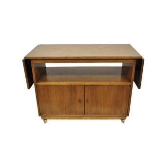 Vintage Mid Century Modern Walnut Laminate Top Rolling Drop Leaf Bar Cart Server For Sale