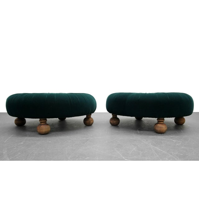 Antique Emerald Green Velvet Round Button Pleated Ottomans - A Pair For Sale - Image 5 of 7