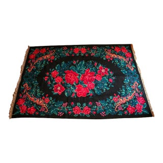 "Italian Red Floral Handknotted Rug - 5'5"" X 8'5"" For Sale"