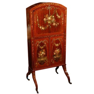 19th C. English Painted Satinwood Drop Front Writing Desk For Sale