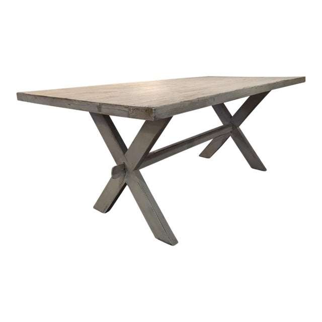 Shabby Chic White Distressed Farmhouse Dining Table For Sale