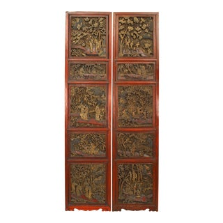 Chinese Carved and Lacquered Door Panels - a Pair For Sale