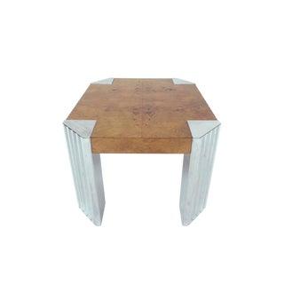 Milo Baughman Chrome and Burl Wood Side Table For Sale