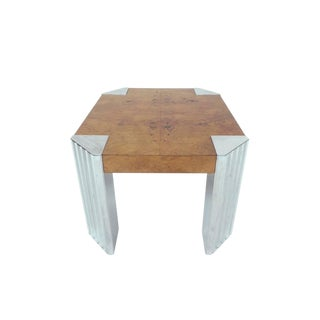 Milo Baughman Chrome and Burlwood Table For Sale