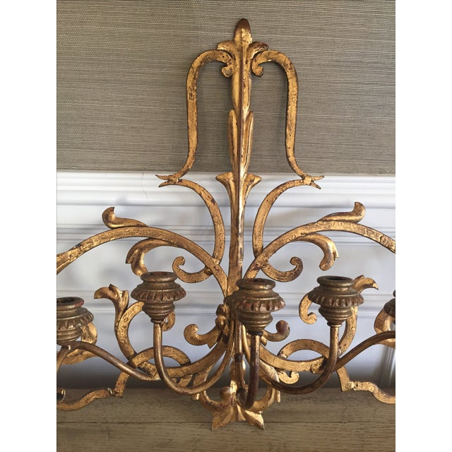 Gold Wall Mount Candelabra - Image 3 of 7