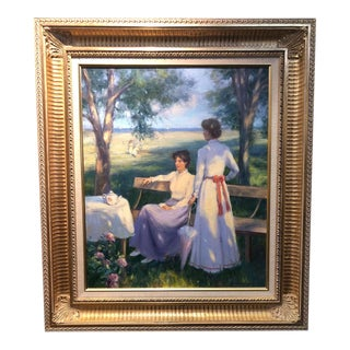 """1990s """"Tea Time"""" Victorian Style Figurative Oil Painting, Framed For Sale"""