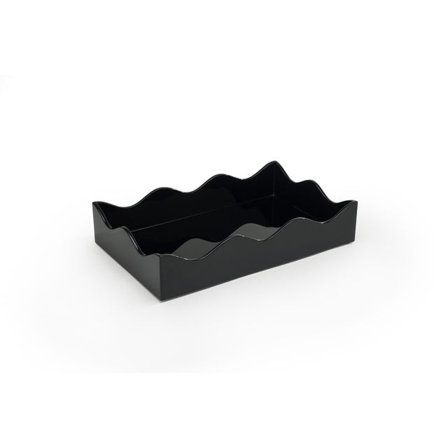 The Lacquer Company Medium Belles Rives Tray in Black - Rita Konig for The Lacquer Company For Sale - Image 4 of 4