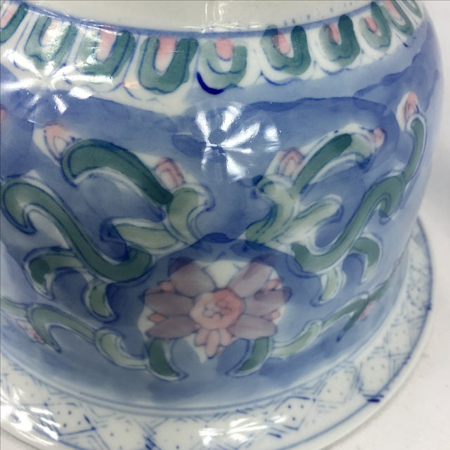Vintage Chinoiserie Porcelain Garden Planter Pot - Image 8 of 9