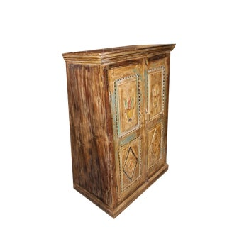 Indian Hand Carved Solid Wood Cabinet Chest Storage For Sale