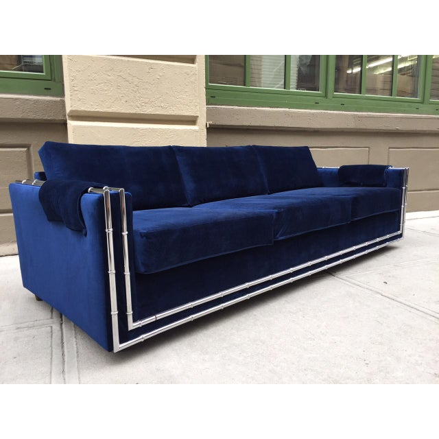 "Mid Century Modern, Faux Bamboo Blue Velvet Sofa. Measures: 92"" W x 36"" D x 30.5"" H (to top of back cushions)."
