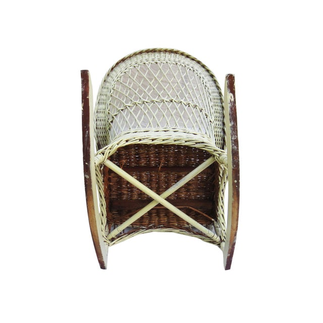 White Wicker Rocker - Image 6 of 6