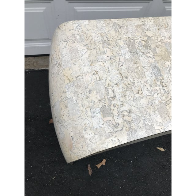 Marble Maitland-Smith Tessellated Fossil Stone Console with Brass Inlays For Sale - Image 7 of 9
