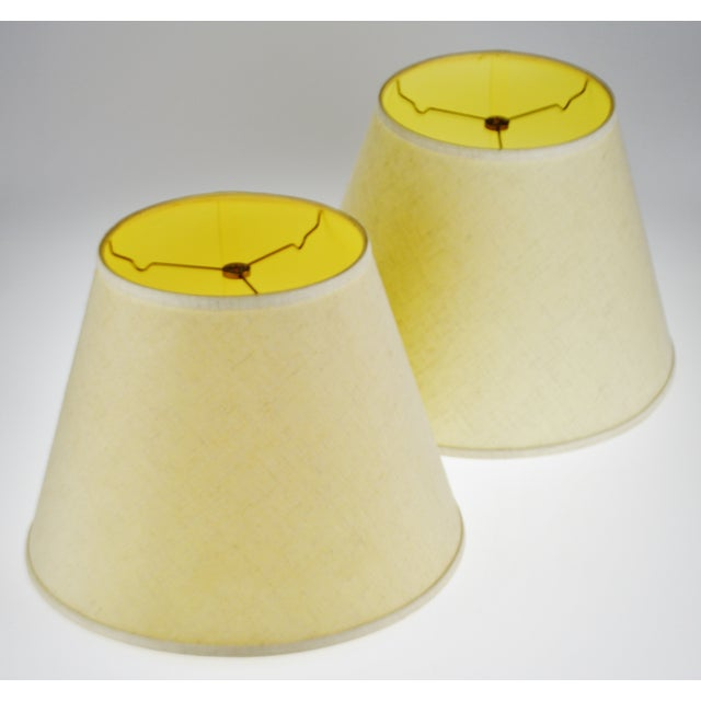 Vintage New Brunswick Linen Empire Shape Lamp Shades - a Pair For Sale - Image 9 of 11