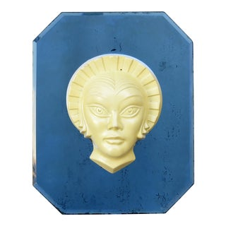Sonia Henie Blue Mirrored Plaque by Frankart For Sale