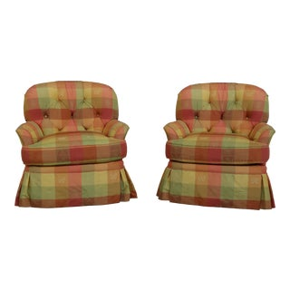 Pair Harden Swivel Bright Upholstered Tufted Club Chairs For Sale