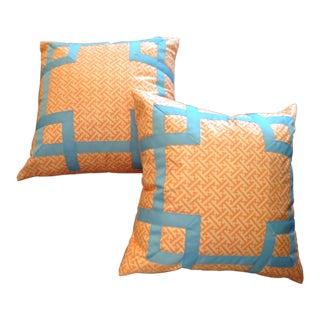 Custom Orange Fret Pillows With China Blue Appliqué - A Pair