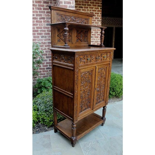 Antique French Oak 19th Century Renaissance Revival Gothic Vestry Sacristy Wine Altar Cabinet Bookcase For Sale In Dallas - Image 6 of 13