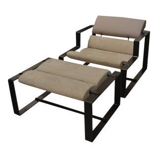 Italian Sculptural Iron Frame Lounge Chair & Ottoman, C.1950 For Sale