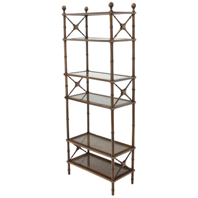 X Stretchers Faux Bamboo Cane and Glass Shelves Étagère Shelves For Sale