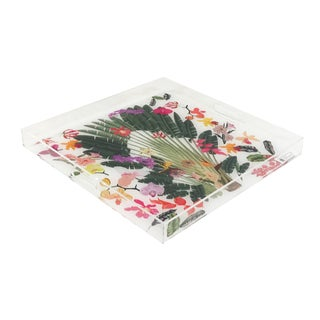 "Nicolette Mayer Fantasy Tropical White 18""x18"" Acrylic Trays For Sale"