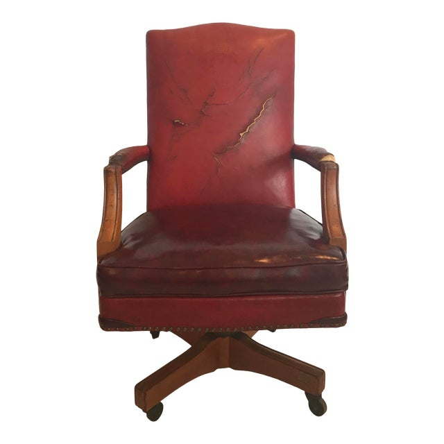 Vintage Mid Century B L Marble Company Illinois House of Representatives Leather Lawyer Judge Chair For Sale