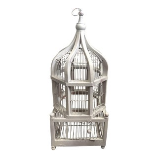 White Wire & Wood Dome Birdcage