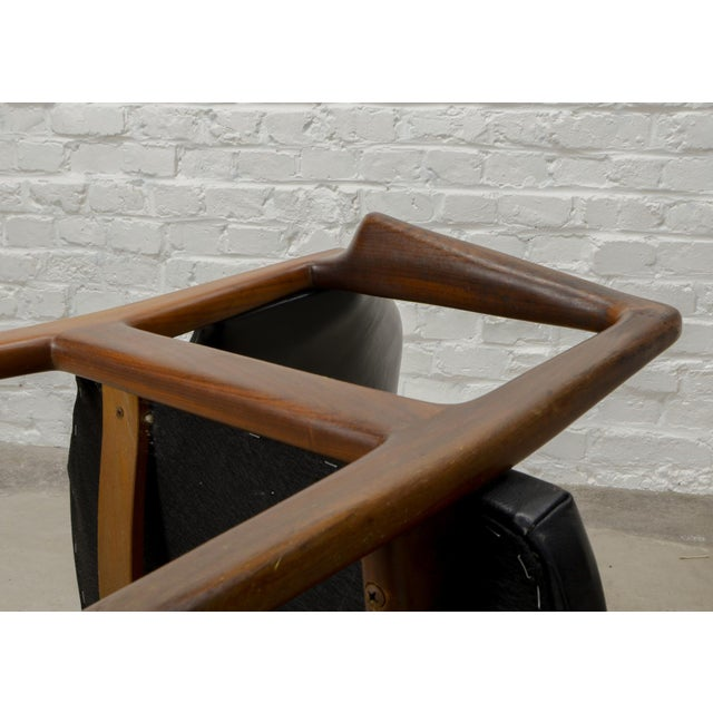 Black Mid-Century Scandinavian Design Teak Wood and Leather Side / Desk Chair, 1960s For Sale - Image 8 of 11