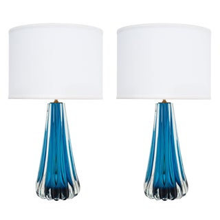 Murano Glass Mirrored Aqua Lamps For Sale
