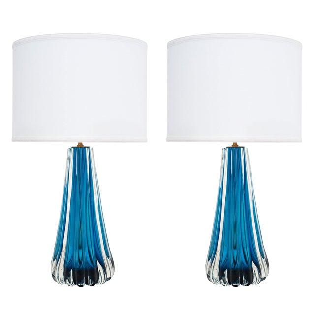Murano Glass Mirrored Aqua Lamps For Sale