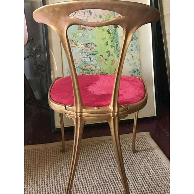 Vintage Hollywood Regency Gilt Metal Chair For Sale - Image 5 of 10