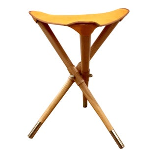 Modern Global Views Orange Hide Camp Stool For Sale