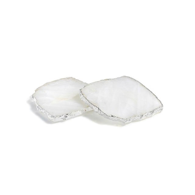 2010s Set of Crystal Silver Edged Coasters For Sale - Image 5 of 5