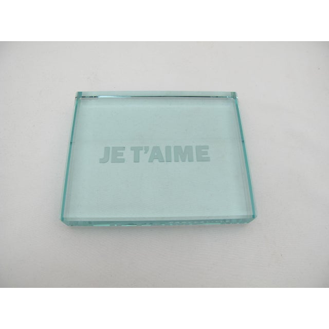 Late 20th Century Rinoldo Frattolillo Je T'aime Modern Op Art Etched Glass Plaque For Sale - Image 5 of 5