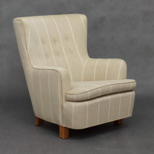 1940s Danish Wing Back Armchair in Thick Striped Wool For Sale In New York - Image 6 of 9