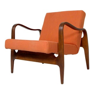 Vintage Mid-Century Bent Wood Lounge Chair with Orange Upholstery by Thonet For Sale