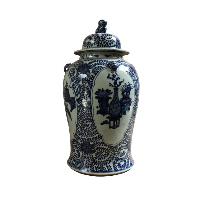 Image of Chinese Blue & White Flowers Vases Theme Porcelain Large General Jar