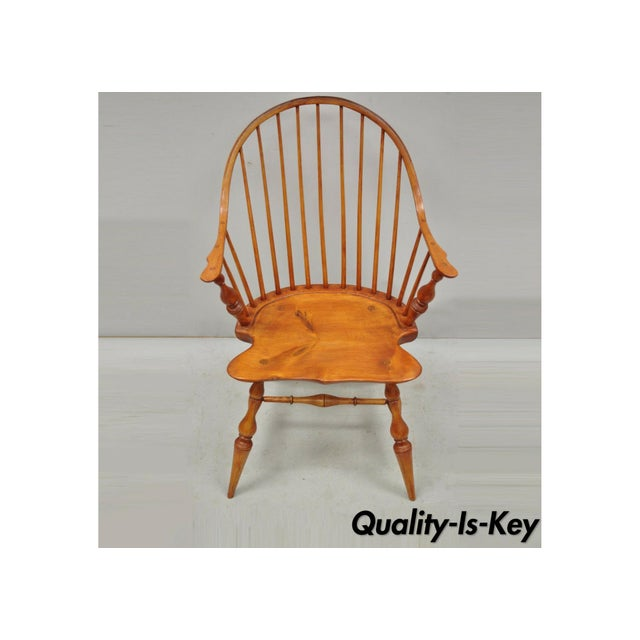 Antique d.r. Dimes Wooden Windsor Bow Back Continuous Arm Dining Chair (B) For Sale - Image 13 of 13