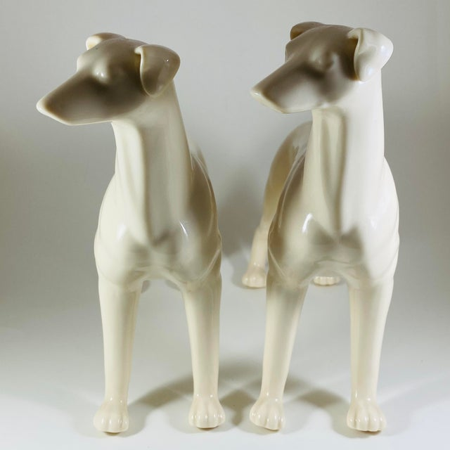 Mid Century Modern White Ceramic Greyhound Dog Statues Figurines - a Pair For Sale - Image 9 of 10