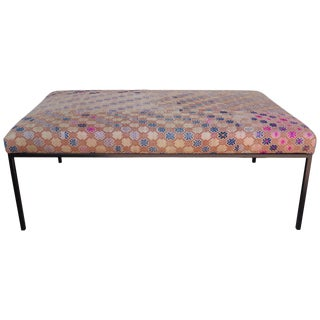 Ottoman or Bench Pink Vintage Textile Top With Custom Base From Haskell Studio For Sale