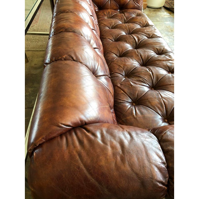 Leather Vintage Cognac Brown Leather Chesterfield Sofa For Sale - Image 7 of 9