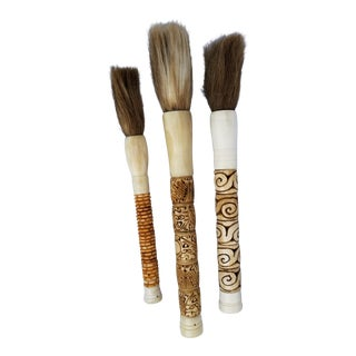 Carved Bone Calligraphy Brush - Set of 3