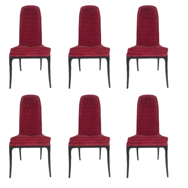 Sleek Set of Six Original High Back Tufted Erwin-Lambeth for Tomlinson Armchairs For Sale