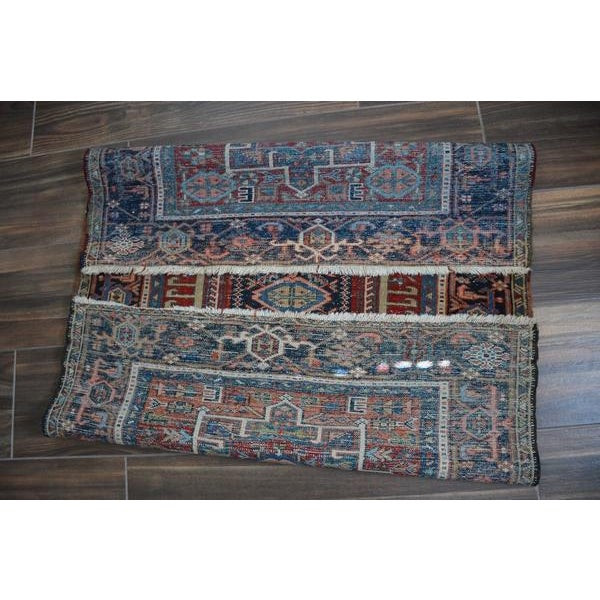 """Antique Shabby Chic Heriz Wool Rug - 3'4"""" X 4'7"""" For Sale - Image 6 of 7"""